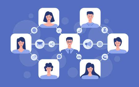Illustration pour Referral program concept. Business network in referral marketing and business partnership, referral program strategy and development. Vector illustration - image libre de droit