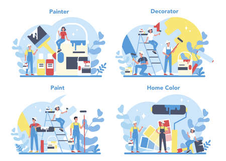 Illustration for Painter, decorator concept set. People in the uniform paint the wall - Royalty Free Image