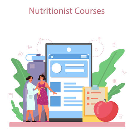 Illustration pour Nutritionist online service or platform. Diet plan with healthy food and physical activity. Nutritionist blog. Vector illustration in cartoon style - image libre de droit