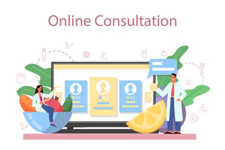 Illustration pour Nutritionist online service or platform. Diet plan with healthy food - image libre de droit