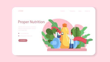 Illustration pour Nutritionist web banner or landing page. Diet plan with healthy food - image libre de droit