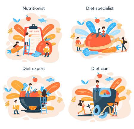 Illustration pour Nutritionist concept set. Diet plan with healthy food and physical activity - image libre de droit