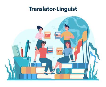 Illustration pour Translator and translation service concept. Polyglot translating - image libre de droit