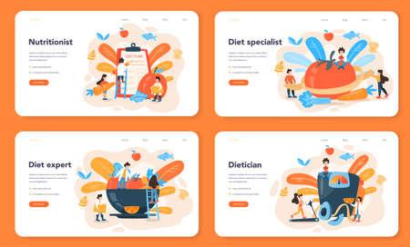 Illustration pour Nutritionist web banner or landing page set. Diet plan with healthy food - image libre de droit