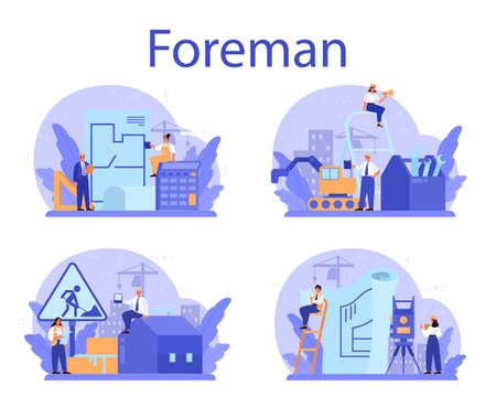 Illustration for Foreman concept set. Main engineer leading at construction site. - Royalty Free Image