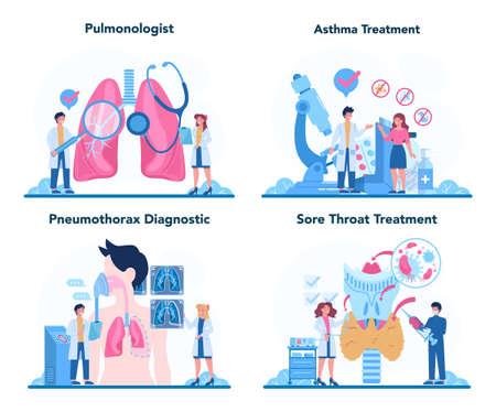 Illustration pour Pulmonologist set. Idea of health and medical treatment. Healthy - image libre de droit