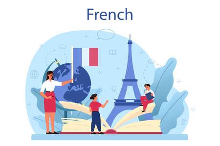 Illustration pour French learning concept. Language school french course. Study - image libre de droit