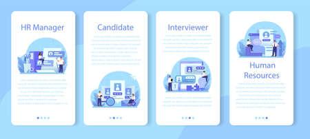 Illustration pour Human resources mobile application banner set. Idea of recruitment - image libre de droit