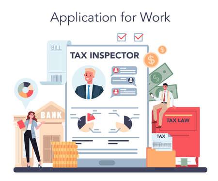 Illustration pour Tax inspector online service or platform. Idea of tax reporting - image libre de droit