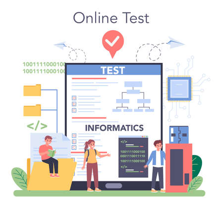 Illustration for IT education online service or platform. Student write software - Royalty Free Image