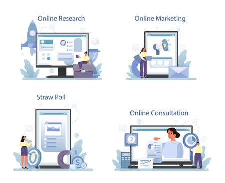 Illustration for Marketing research online service or platform set. Statistics analysis - Royalty Free Image