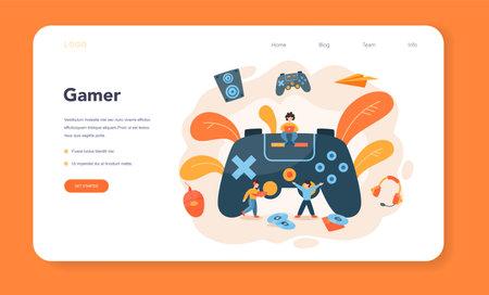 Illustration pour Professional gamer web banner or landing page. Person play - image libre de droit