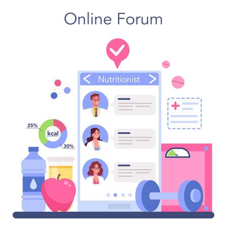 Illustration pour Nutritionist online service or platform. Nutrition therapy with healthy food - image libre de droit