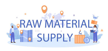 Illustration pour Raw material supply typographic header. Suppliers, B2B idea, global distribution - image libre de droit
