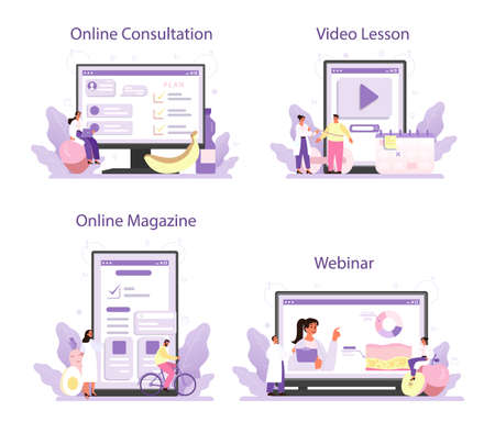 Illustration pour Nutritionist online service or platform set. Nutrition therapy with healthy food - image libre de droit