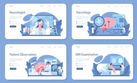 Illustration pour Neurologist web banner or landing page set. Doctor examine human - image libre de droit
