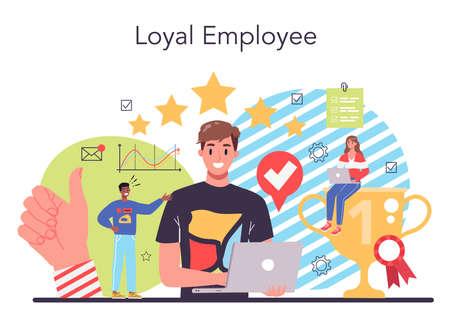Illustration pour Employee loyalty concept. Corporate culture and relations. - image libre de droit