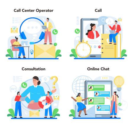Illustration pour Call center or technical support concept set. Idea of customer service. - image libre de droit