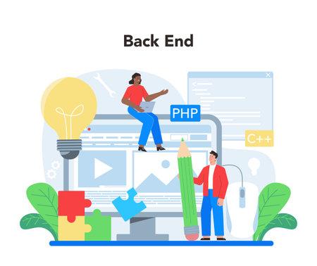 Illustration pour Back end development concept. Software development process - image libre de droit