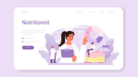 Illustration pour Nutritionist web banner or landing page. Nutrition therapy with healthy food - image libre de droit
