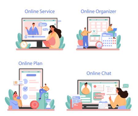 Illustration pour Businessperson personal assistant online service or platform set - image libre de droit