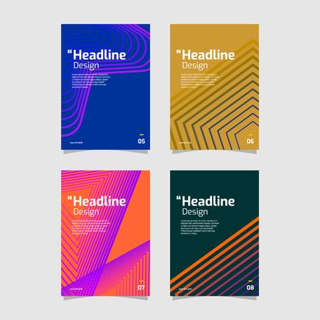 Photo pour Beautiful geometric gradient flyer set collection - image libre de droit