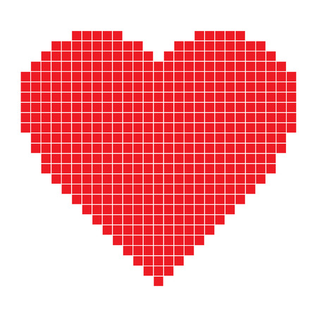 Ilustración de Red pixel Heart - Imagen libre de derechos