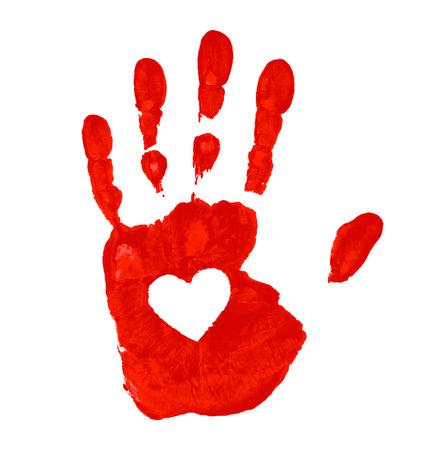 Illustration pour Hand print with heart icon, vector illustration  - image libre de droit