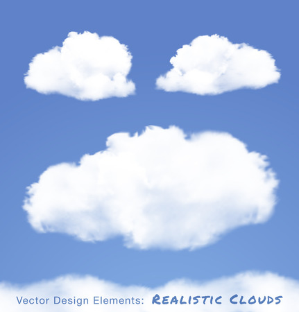 Realistic Clouds on blue sky  Vector illustration