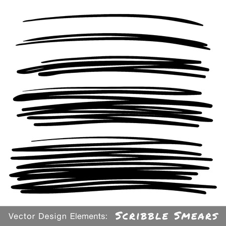 Set of Hand Drawn Scribble Smears, vector design elements