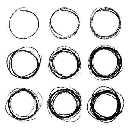 Illustration pour Set of Hand Drawn Scribble Circles - image libre de droit