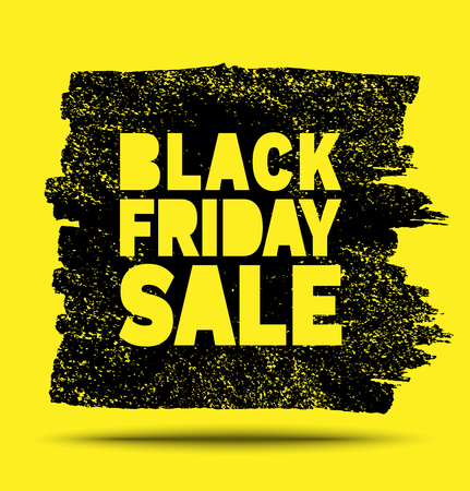 Black Friday Sale hand drawn yellow grunge stain on black background, vector illustration