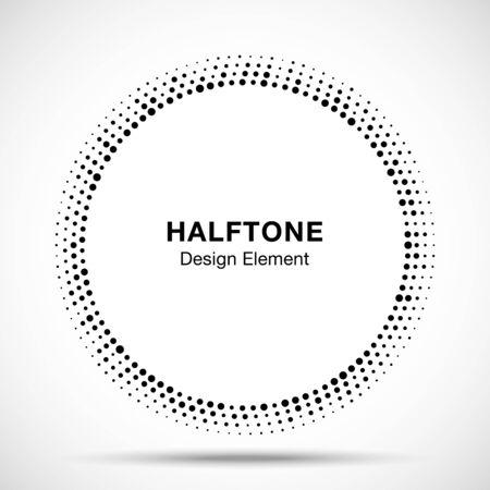 Black Abstract Vector Circle Frame Halftone Random Dots Logo