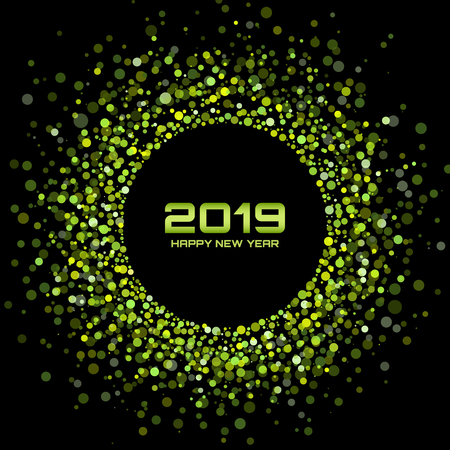Ilustración de New Year 2019 card background.  Christmas holiday. Confetti circle holiday frame. Green party. Xmas shining round. Bright Disco Lights. Halftone Circle Frame. Vector illustration - Imagen libre de derechos