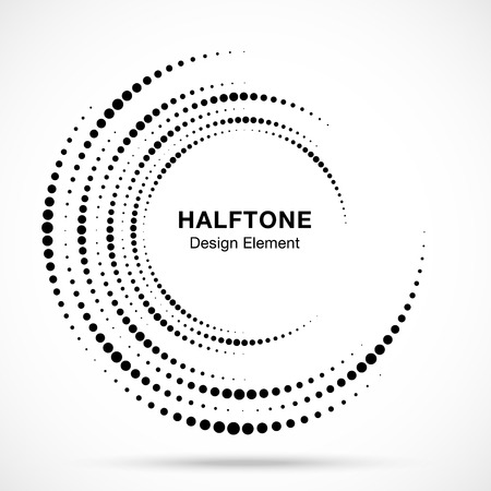 Illustration pour Halftone vortex circle frame dots logo isolated on white background. Circular swirl design element for treatment, technology. Incomplete round border Icon using halftone circle dots texture. Vector - image libre de droit