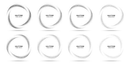 Illustration pour Halftone circle dotted frame circularly distributed set. Abstract dots logo emblem design element. Round border icon using halftone circle dot texture. Half tone circular background pattern. Vector. - image libre de droit