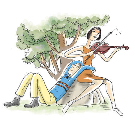 A woman is playing violin to her lover in the park