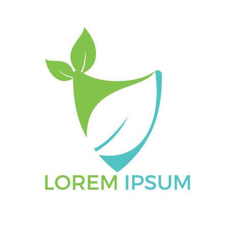 Illustration pour Nature logo design. Green tropical leaves icon. Tree foliage logotype template. - image libre de droit
