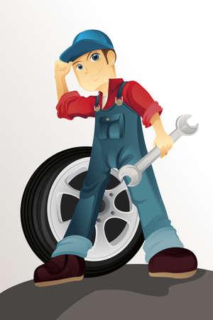 A vector illustration of an auto mechanic