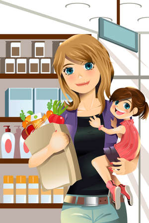 An illustration of a mother and a daughter going grocery shopping