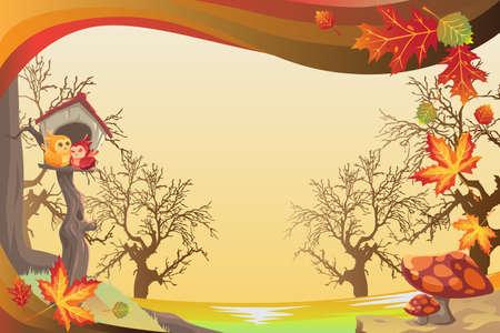 illustration of Autumn or Fall season background