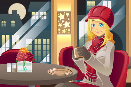 A illustration of a beautiful winter woman drinking coffee in a cafe