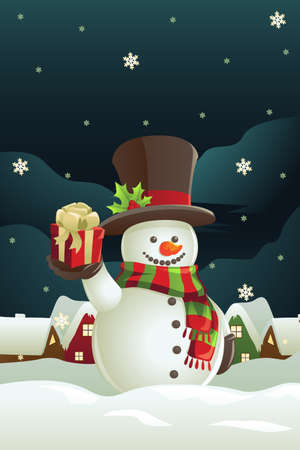 A vector illustration of a snowman holding a Christmas present