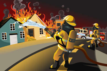 illustration of firefighters trying to put out burning houses
