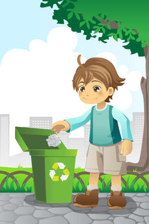 illustration of a boy recycling a piece of paper