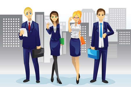 A vector illustration of business people standing in front of office buildings