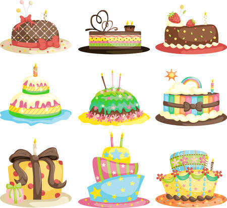 A vector illustration of different gourmet birthday cakes