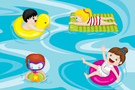 A vector illustration of kids swimming in swimming pool