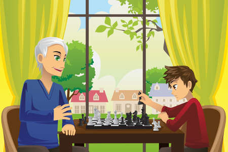 A vector illustration of a grandfather and his grandson playing chess at home