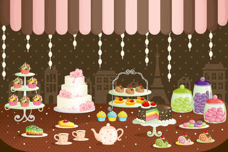 A illustration of cakes store display